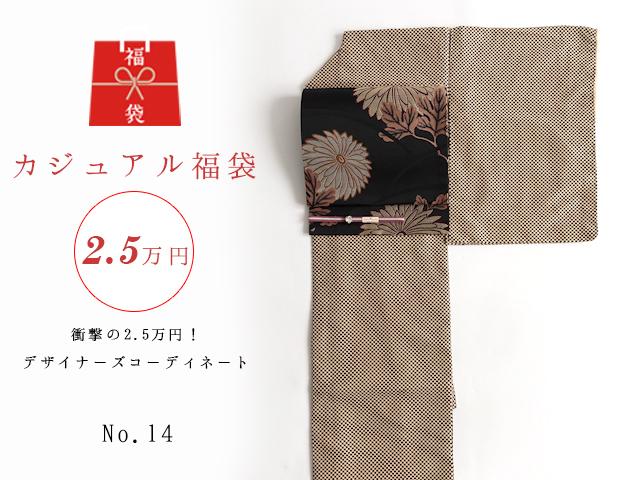 【福袋NO・14】衝撃の2.5万円!デザイナーズコーディネート5点セットー小紋市松アンティークコーデ
