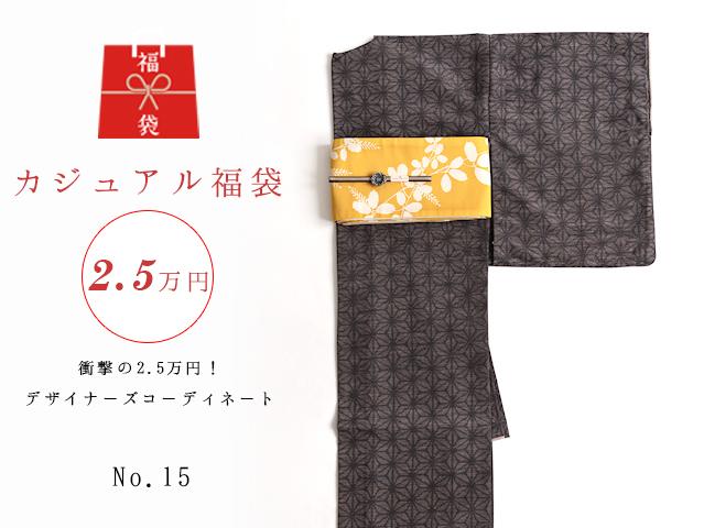 【福袋NO・15】衝撃の2.5万円!デザイナーズコーディネート5点セットー紬風麻の葉キモノset