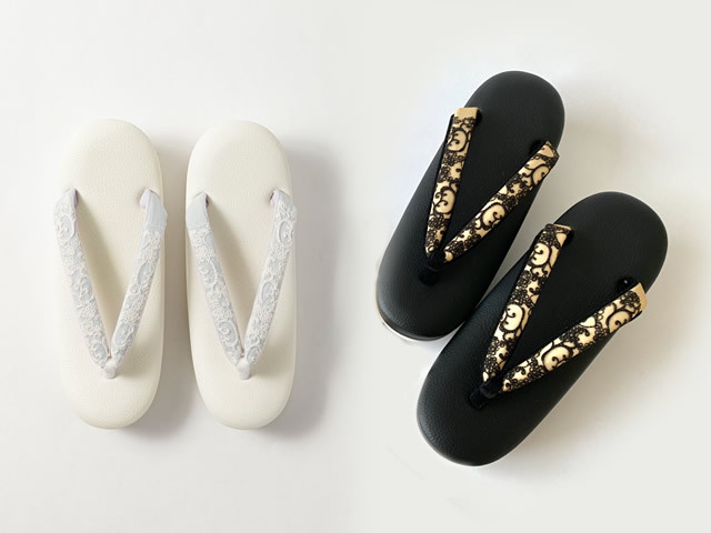 【待望の再入荷!】低反発草履Fuwamocoオーガンジーのレース刺繍鼻緒が美しい、オメカシ草履(x富士商会・2色)