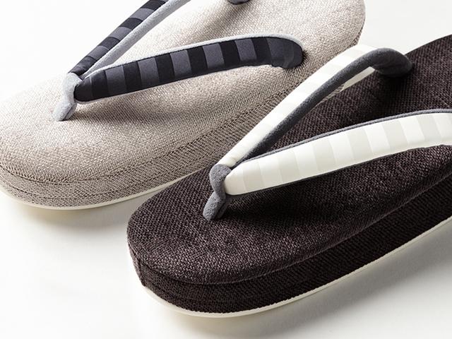 低反発で足の痛みよ、サヨウナラ。Fuwamoco-PARTY RIBBON 横ボーダー草履(2色)