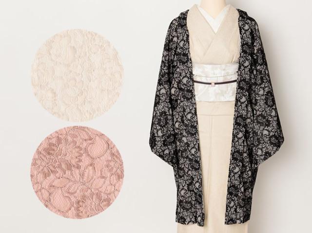【羽織】透けないレースでちょっぴり格上げ-DRESSY羽織フェミニン(3色)
