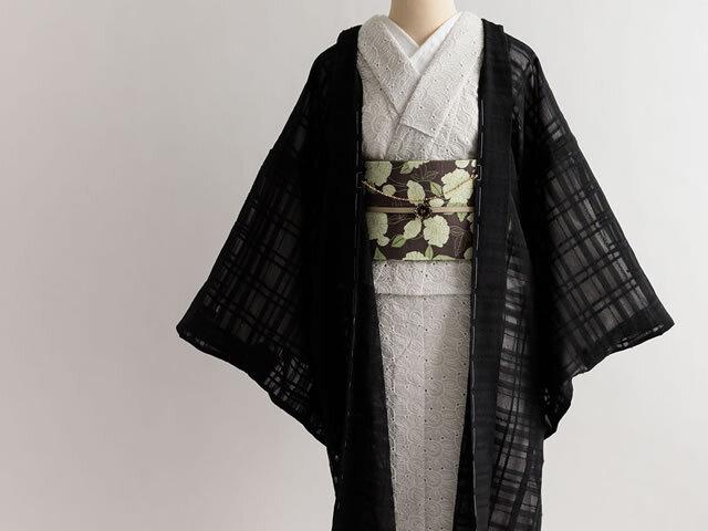 【薄羽織】リネン混オーガンジー薄羽織ーBLACK RIBBON(SHORT丈/ LONG丈・羽織り紐付き)