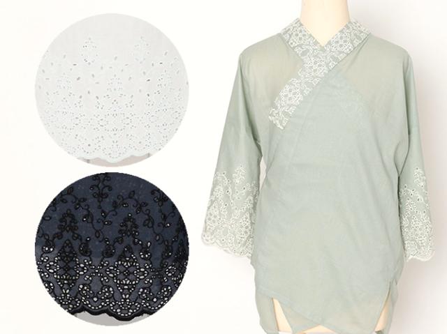 【楽ちん着物下着】 スカラップレースの半襦袢-Marrakech(綿100%・3色・六花コラボ商品)