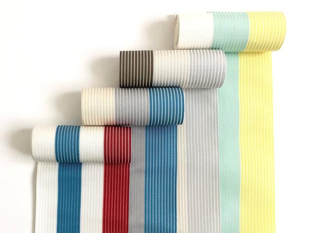 【博多織】単-夏の博多織半幅帯-BORDERS(4色・麻絹)