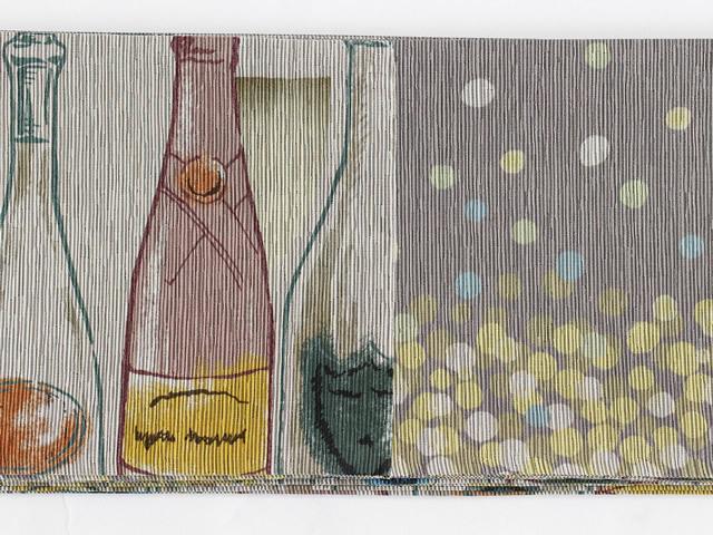 【召しませ花】リバーシブル半幅帯ーシャンパンボトル