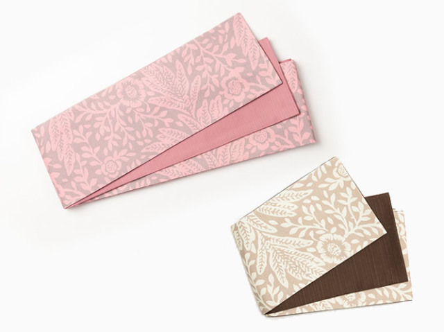 【リバーシブル半幅帯】締めやすい、緩まない。木綿のリバーシブル半幅帯-北欧flowers(4色)