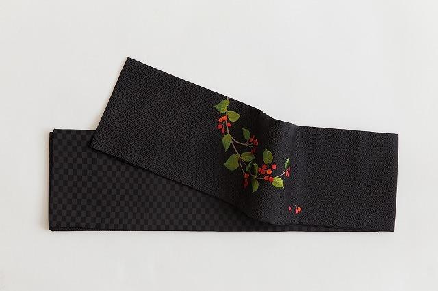 正絹半幅帯-刺繍-南天