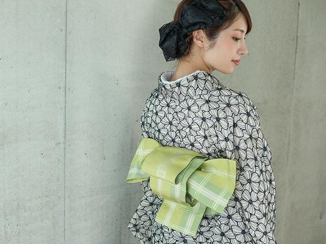 【+LUXE】博多織ー正絹リバーシブル半幅帯-大判格子・若草(メーカー直送)