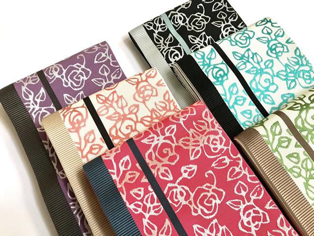 【+LUXE】正絹博多織半幅帯-薔薇-Roses(x西村織物コラボ商品)