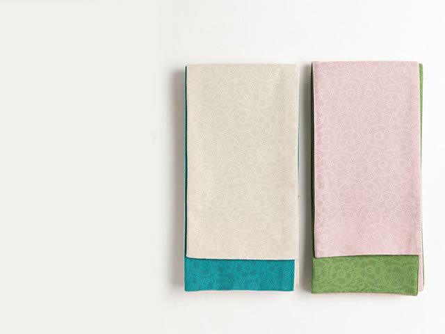 透し織り-リバーシブル半幅帯ーあさきゆめみし(2色)