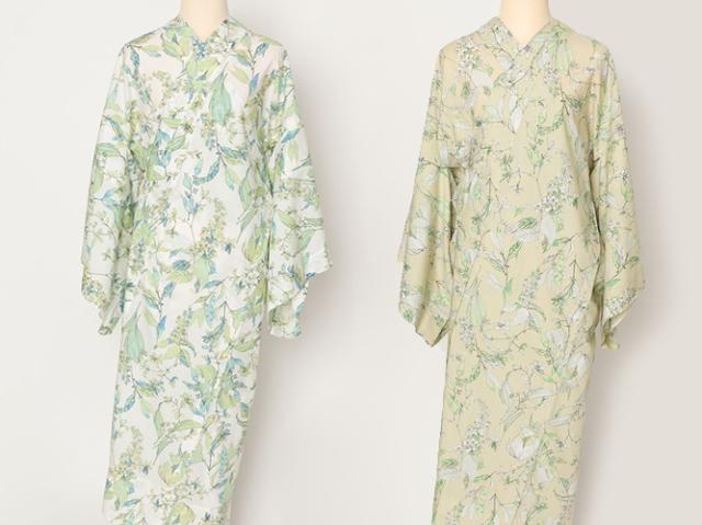 長襦袢ーBASIC & FREEサイズの着物にぴったりの!プレタ長襦袢 -サルビアの花束(2色・綿100%)