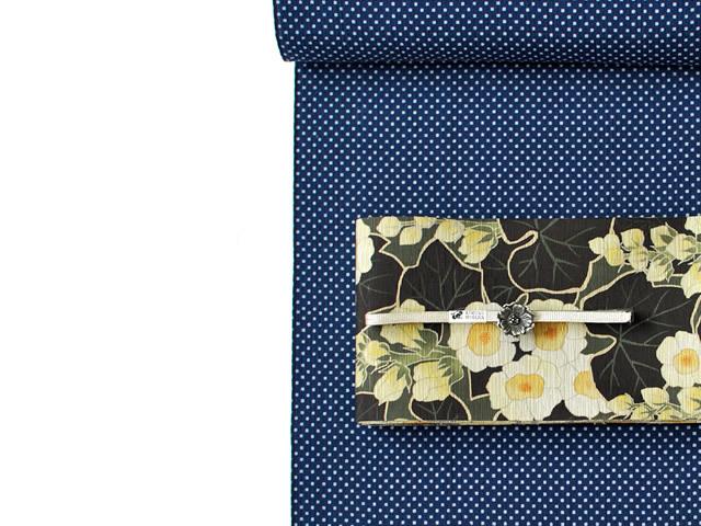 【阿波しじら】盛夏も着用OK!涼しい、夏キモノ-水玉ワルツ(反物7月上旬お届け)