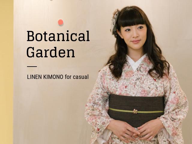 【リネン着物】ナチュかわ--ボタニカルgarden(2色)