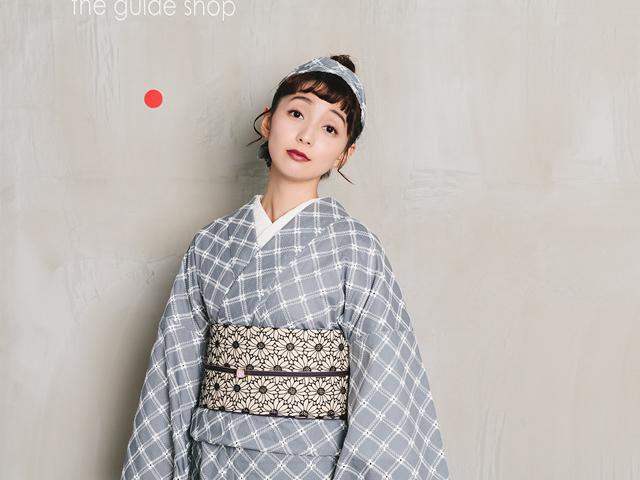 【レンタル】レース刺繍キモノーフレンチ格子+リバーシブル半幅帯-マーガレット