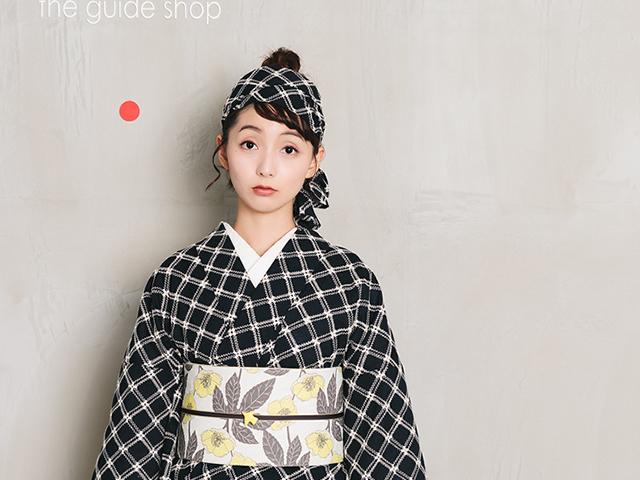 【レンタル】レース刺繍キモノーフレンチ格子+リバーシブル半幅帯-コクリコ