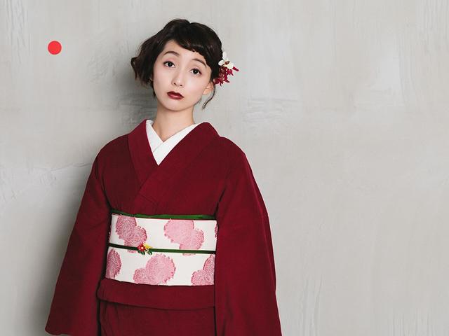 【レンタル】コーデュロイ着物red+名古屋帯-Maison de supreme(送料無料・2週間レンタル・買取可)