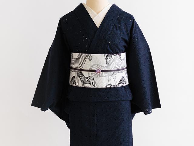 【レンタル】ペイズリーレース着物-ロマンチカ+リバーシブル半幅帯-ゼブラ