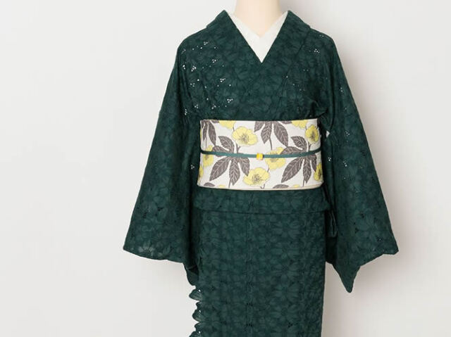<ご予約品>レース刺繍きもの-スカラップ花 GREEN(Basic&Freeサイズのみ / お届け3月中旬予定)