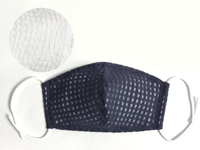 <接触冷感!>赤ちゃんガーゼが肌に優しい、透ける素材の冷感マスク-格子レース(2色・防臭増菌防止加工)8月下旬お届け