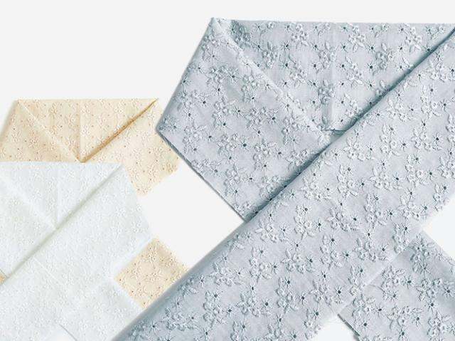 木綿の半衿ーレース刺繍-あなたとわたしと花言葉(3色)