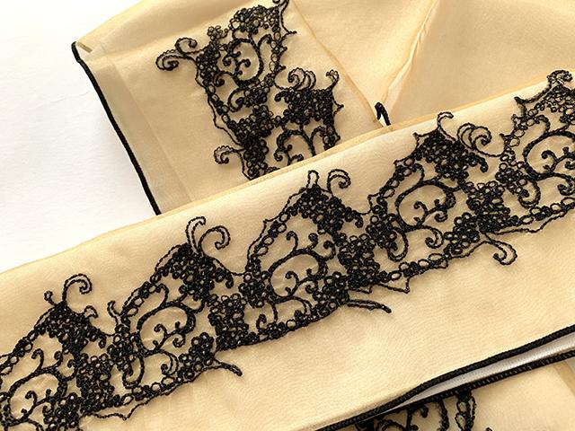 【お半衿】オーガンジーの刺繍お半衿-メレンゲステッチ(富士商会ペタコ・2色)