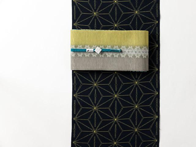 <久留米絣キモノ>現代的な色柄、昔ながらの伝統ー麻の葉yellow