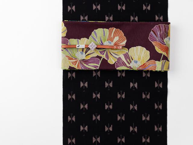久留米絣-現代的な色柄、昔ながらの伝統-お空の蝶々brown(綿100%・反/誂)