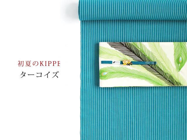 【綿麻キモノ・涼縞】初夏のKIPPE-爽やかなシャリ感ーターコイズ(米沢産)