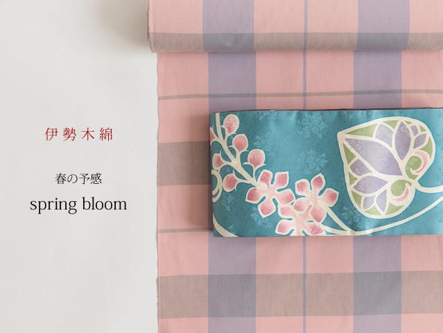 【伊勢木綿】大判格子-春の予感-spring bloom