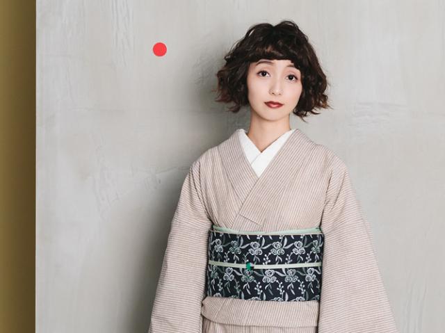 <ご予約品>遠州綿紬-鮮やかな色合いと手頃な価格が魅力-カフェオレストライプ(水通し済み・反物6月上旬お届け)