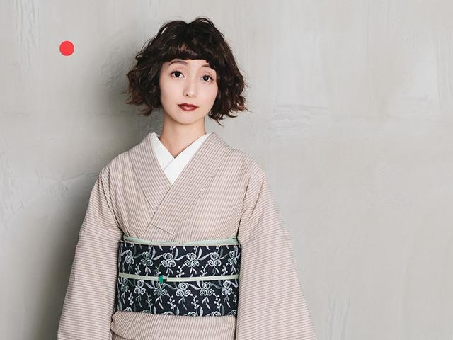 【遠州綿紬】-鮮やかな色合いと手頃な価格が魅力-カフェオレストライプ(Basic&Free / お仕立て済)