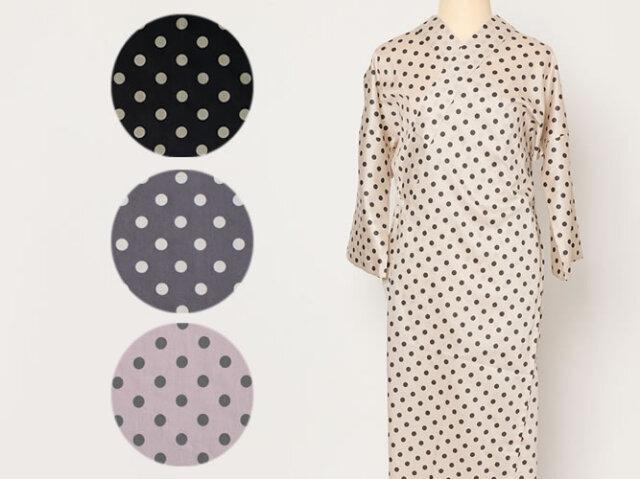 【ワンピ襦袢】半衿つけ不要!着物下着はこれ1枚でOK-POLKA DOTS(4色・綿100%)