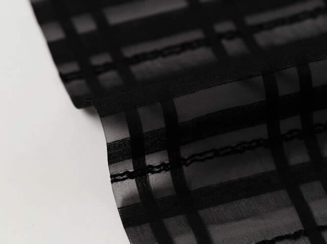 【シースルー帯揚げ】 狭幅25cmでスッキリ!BLACK RIBBON(綿麻混)