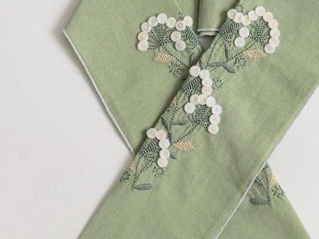 ご予約品【富士商会】ペタコさんの刺繍お半衿-ボタンフラワーズ
