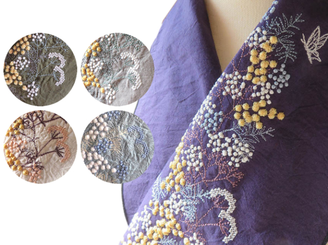 <ご予約品>富士商会 - ペタコさんの刺繍お半衿-ミモザとカスミソウkatagawa(5色・12月上旬お届け)