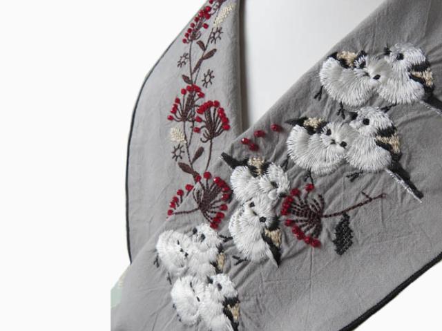 <ご予約会 ・送料無料>富士商会 - ペタコさんの刺繍お半衿-シマエナガ(数量限定・12月上旬お届け)