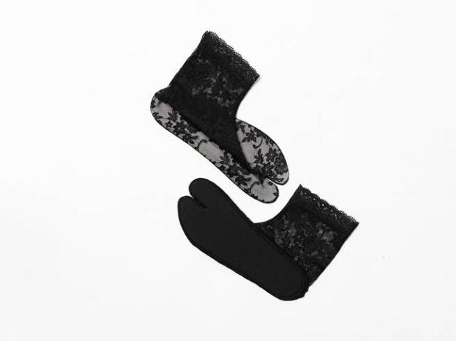 【レース足袋】靴下LIKE&長めがうれしい足首丈 - amandaブラック(M / L)