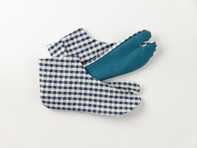 【カラフル底のおしゃれ足袋】ゑびす足袋xKIMONO MODERN- BLUExBLUE(綿100%・4サイズ)
