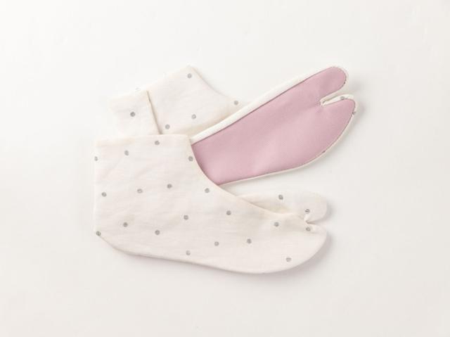 【カラフル底のおしゃれ足袋】ゑびす足袋xKIMONO MODERN--水玉(リネンx綿・4サイズ)