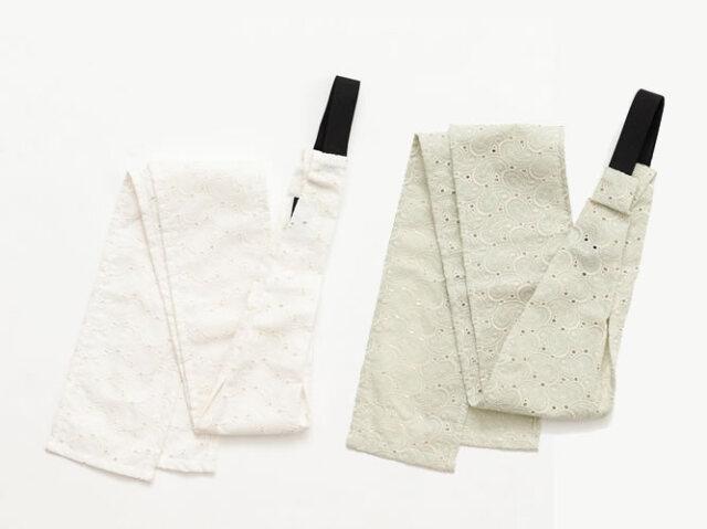 <三連仮紐>帯結びが簡単&楽ちんに!帯揚げやヘアターバンとしても使える便利小物-レース刺繍ペイズリー(2色)