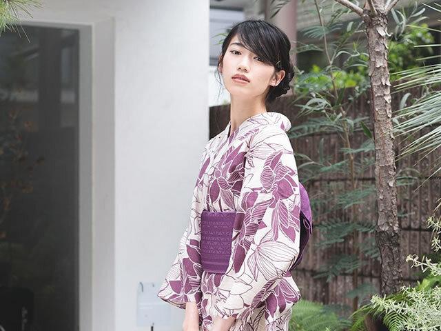 【浴衣】ニッポンの伝統-捺染ゆかた-蓮(綿100%・反/F/誂)