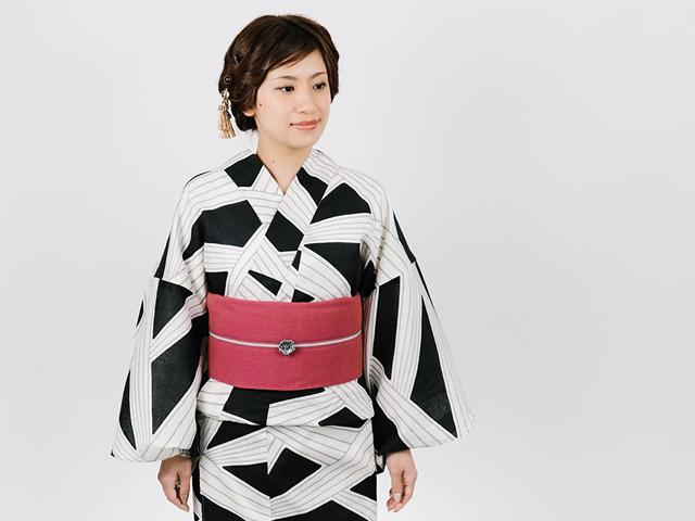 【レンタル】浴衣-神楽kagura-BLACK×大人の兵児帯COLORED[苔桃]