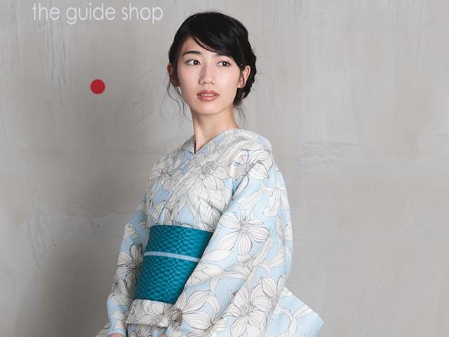 【レンタル】浴衣-Sweet Lily Flower ×リバーシブル半幅帯CHINA BLUE