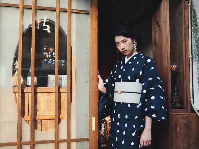 【レンタル】綿絽夏キモノ浴衣-港屋絵草紙×半幅帯CROSS OVER[象牙]
