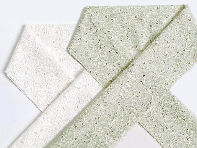 木綿の半衿ーレース刺繍ペイズリー(2色)