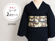 【着物コーデ2点セット】ペイズリーレース着物-ロマンチカ+リバーシブル半幅帯-白い芍薬