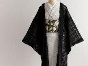 リネン混オーガンジーの薄羽織 - BLACK RIBBON(SHORT丈/ LONG丈・羽織り紐付き)