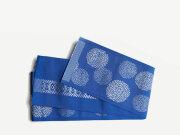 【博多織半幅帯】-小菊 コバルトblue(正絹100%・メーカー直送品)