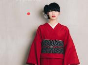 【くるめ麻】 現代的な色柄、昔ながらの伝統、久留米絣ー深紅の囁き(麻100%・反/誂)