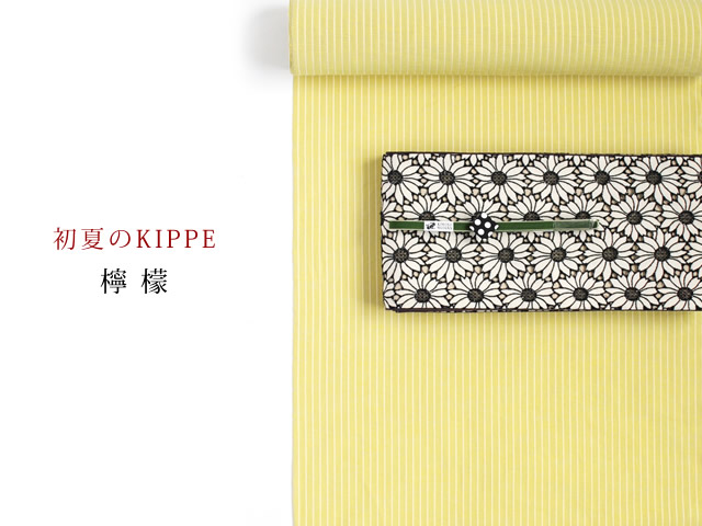 【綿麻キモノ・涼縞】初夏のKIPPE-爽やかなシャリ感ー檸檬(産地米沢)